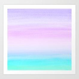 Touching Unicorn Girls Watercolor Abstract #1 #painting #decor #art #society6 Art Print