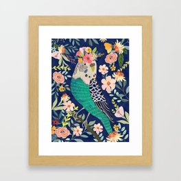 Parakeet with Floral Crown Framed Art Print