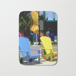 Brightly Colored Chairs Bath Mat