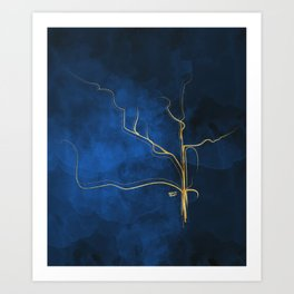 Kintsugi Electric Blue #blue #gold #kintsugi #japan #marble #watercolor #abstract Art Print