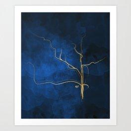 Kintsugi Electric Blue #blue #gold #kintsugi #japan #marble #watercolor #abstract Art Print