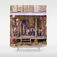 cigarettes Shower Curtains featuring Social Media - 1939 by Brown Eyed Lady