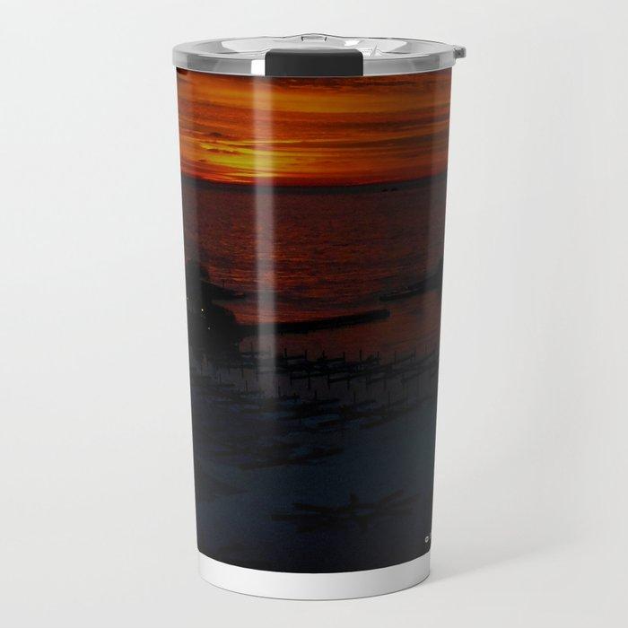 Lake Michigan Sunrise l'Orange (Chicago Sunrise/Sunset Collection) Travel Mug