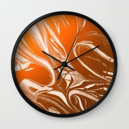 Copper Swirl - Copper, Bronze, gold and white metallic effect swirl pattern Wall Clock
