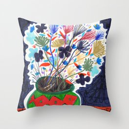 Colorful Flowers Still Life Drawing Throw Pillow
