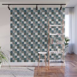Rustic Gray Turquoise Green Beige Patchwork Wall Mural
