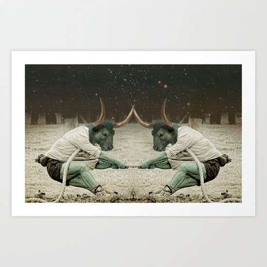 locking horns under Taurus Art Print