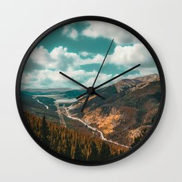 High Above // Teal Blue Sky Autumn Fall Color Woodlands in Colorado Wall Clock