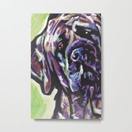 Fun ENGLISH MASTIFF Dog bright colorful Pop Art Painting by LEA Metal Print