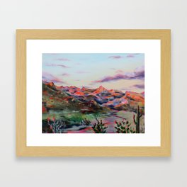 Tucson Sunset by the Catalina foot hills - Thimble peak Framed Art Print
