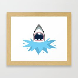 Cartoon Shark Splash Framed Art Print