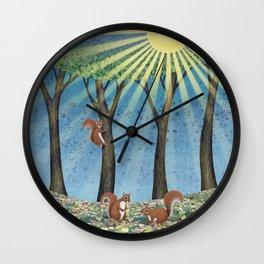 sunshine squirrels Wall Clock