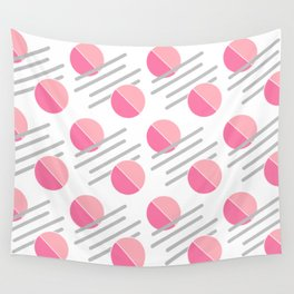 Modern Pink Circle Line Abstract Wall Tapestry