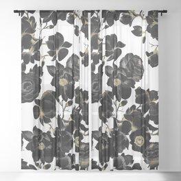 Modern Elegant Black White and Gold Floral Pattern Sheer Curtain