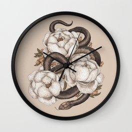 Snake and Peonies Wall Clock
