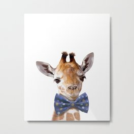Baby Giraffe With Bow Tie, Baby Animals Art Print By Synplus Metal Print