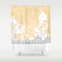 Helsinki Finland Skyline Map Shower Curtain
