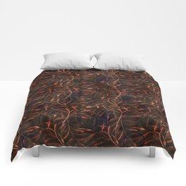 Orange sprigs on a dark background. Comforters