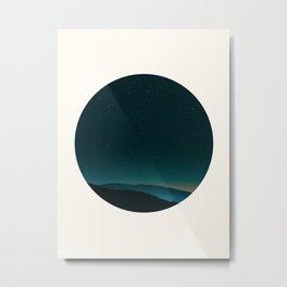 Mid Century Modern Round Circle Photo Graphic Design Minimal Night Sky With Mountain Silhouette Metal Print