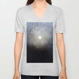 Glowing Moon in the night sky Unisex V-Neck