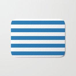 Biscayne Blue Horizontal Tent Stripes Florida Colors of the Sunshine State Bath Mat