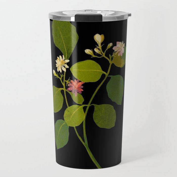 Nictanthes Sambac Mary Delany British Botanical Paper Flower Collage Delicate Flowers Travel Mug