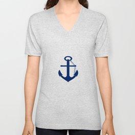 AFE Nautical Blue Ship Anchor Unisex V-Neck