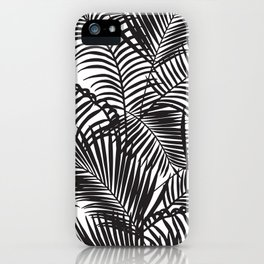 Modern black tropical palm trees pattern iPhone Case