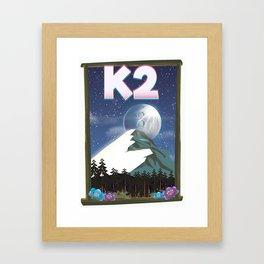 K2 Mountain travel poster Framed Art Print