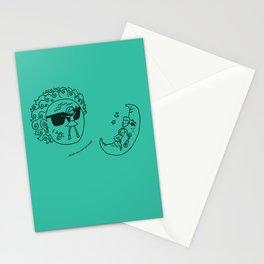 Sun & Moon, Aqua Stationery Cards