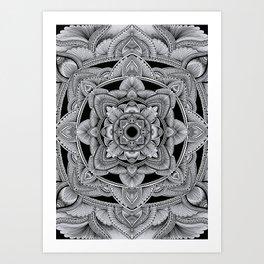 Black and white linework mandala Art Print