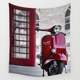 Classic Red Vespa Wall Tapestry