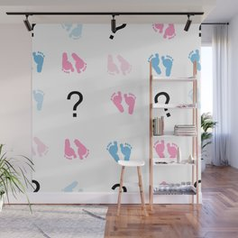 Question mark, baby foot prints,  pink and blue baby gender reveal background wallpaper vector Wall Mural