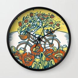 Bike Blossoms Wall Clock