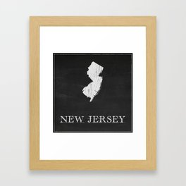New Jersey State Map Chalk Drawing Framed Art Print