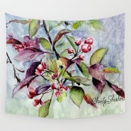Branch With Blossoms Watercolor Wall Tapestry