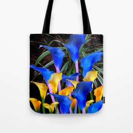 BLACK MODERN ABSTRACT BLUE & GOLD CALLA LILIES Tote Bag