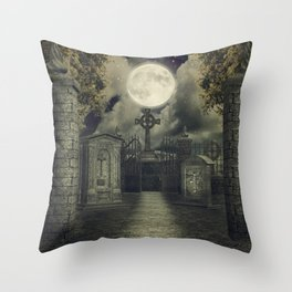 Graveyard #4 * cemetary thombstone creepy scary Throw Pillow