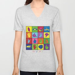 Hand Signs Rubik by DeLaFont Unisex V-Neck