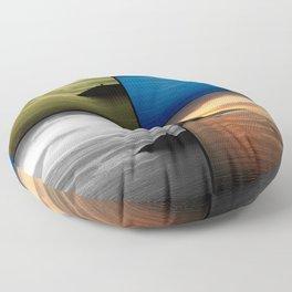Quadriptych seascape at sunset Floor Pillow