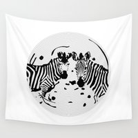 record Wall Tapestries featuring Zebra Record by Studio Su