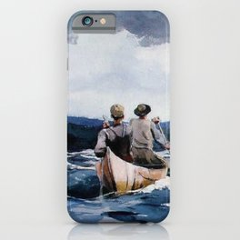 Canoe in the Rapids river landscape by Winslow H-o-m-e-r iPhone Case