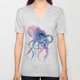 Octopus, Pink purple sea animals design underwater scene painting Unisex V-Neck