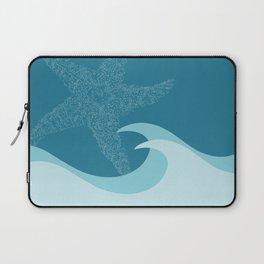 Waves with Starfish - Digital Art  Laptop Sleeve