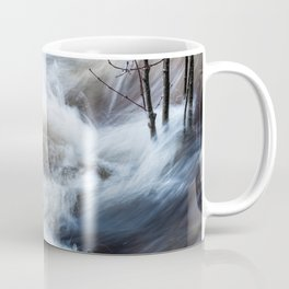 Beautiful colorful rapids and tree branches close view Coffee Mug