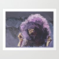 erykah badu Art Prints featuring Erykah Badu by ear2ear