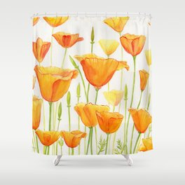 Blossom Poppies Shower Curtain