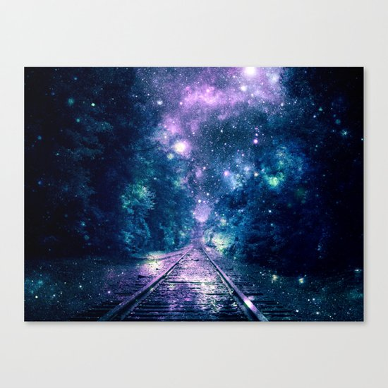 "Train Tracks : ""Next Stop, Anywhere"" Purple Teal Canvas Print"