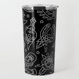 Classic Black Tattoo Pattern  Travel Mug
