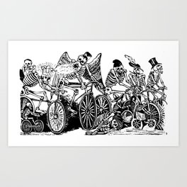 Calavera Cyclists | Day of the Dead | Dia de los Muertos | Skulls and Skeletons | Vintage Skeletons | Black and White |  Art Print